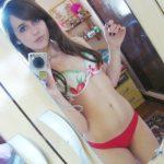 petite brune selfie bikini